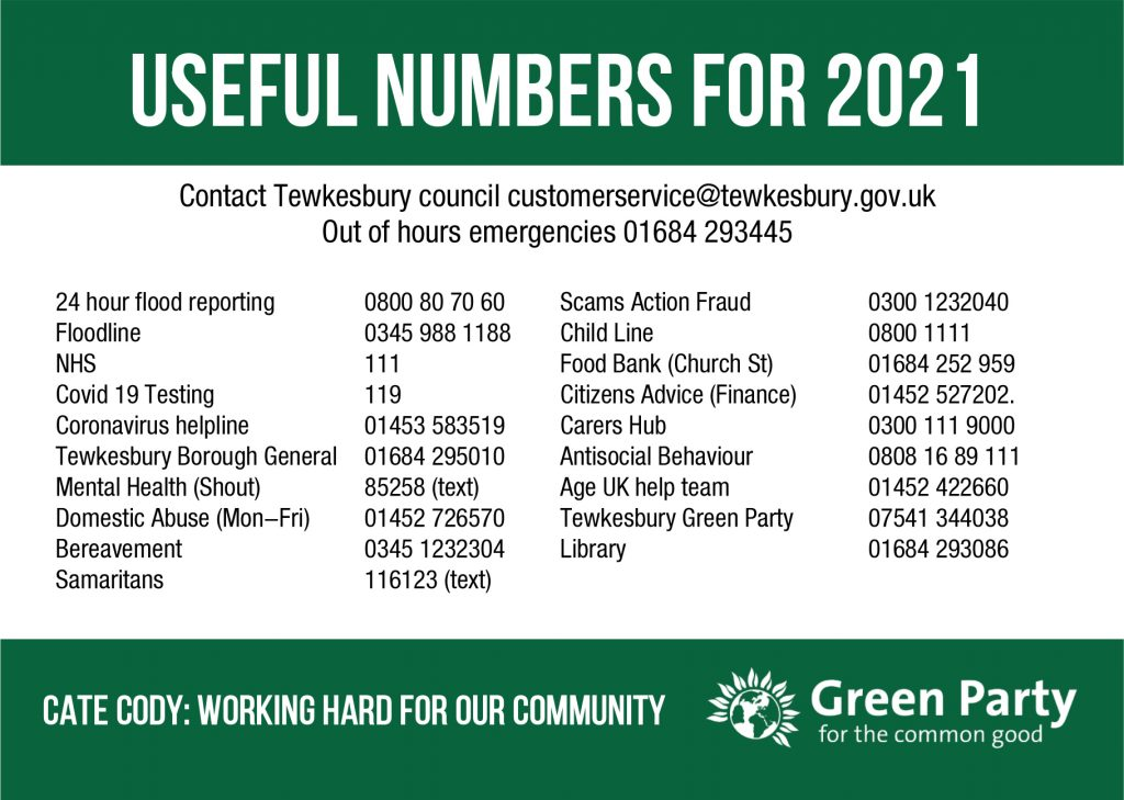 HNY card Tewkesbury Telephone Numbers